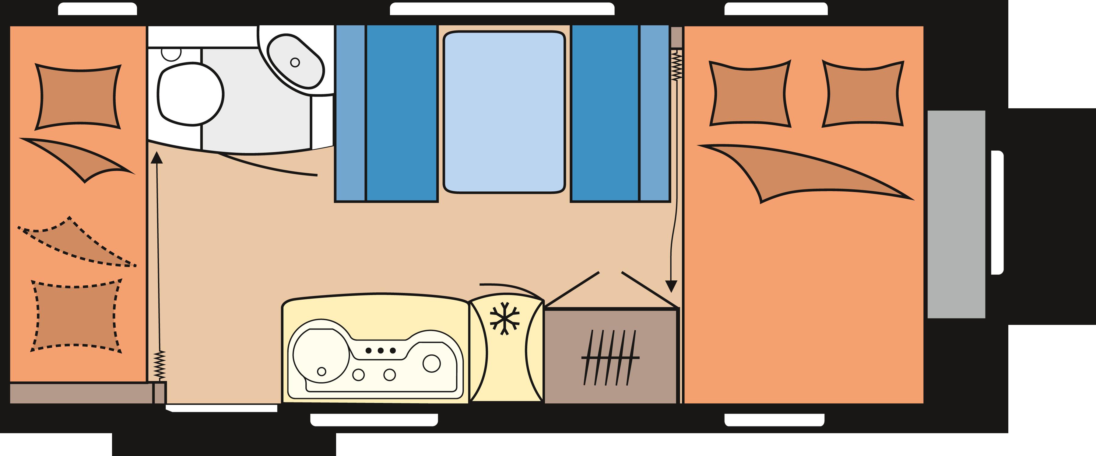 Hobby Caravan Stapelbed Vast Bed.Hobby Met Stapelbed Caravan Kampeer Centrum Westland